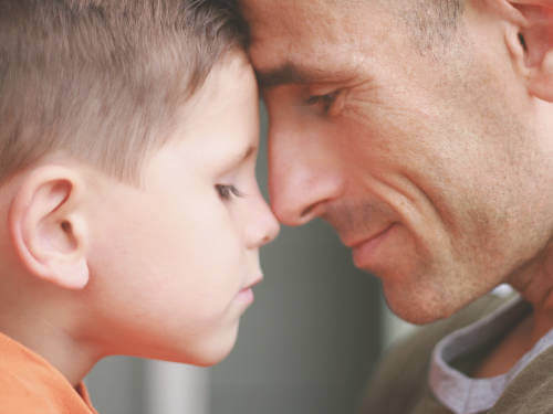 Video Interaction Guidance (VIG) can highlight moments of positive unspoken interaction; here a father and son touching heads